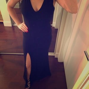 Dresses & Skirts - Long black dress with leg slit